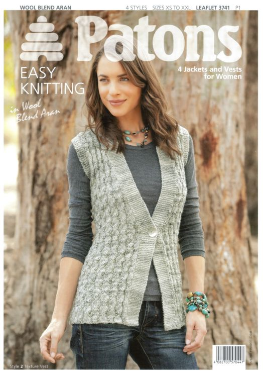 Patons Wool Blend Aran 4 Jackets And Vests Knitting Pattern 3741